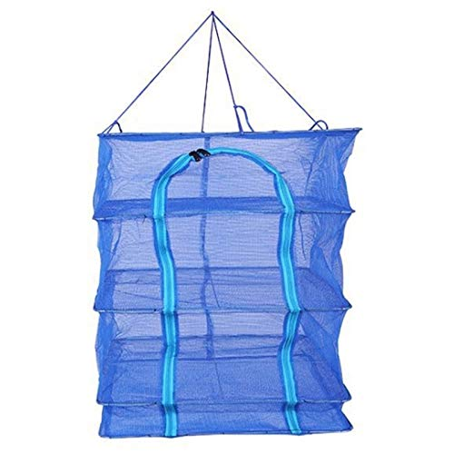 YMYGCC Fish trap Catching Fishing Accessories Portable Durable 40 Folding And Drying Cage Square Thickened Drying Fish Net 21 Color Blue