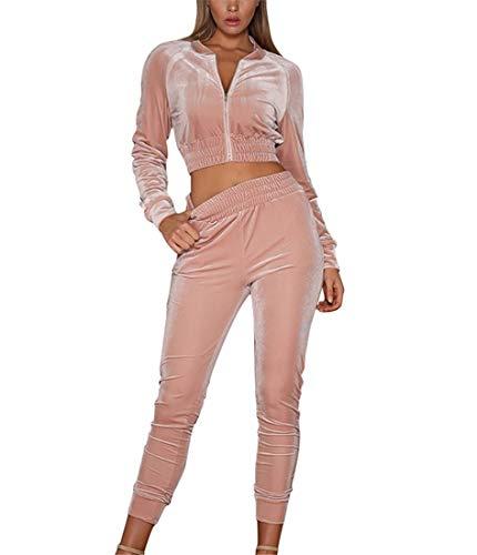 Women's Tracksuit Set 2 Piece Velvet Zip Crop Top Sweatshirt and Jogger Pants Outfits (Pink, Large)