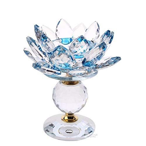 ZAMTAC Hi-Q 4.33 Inch Crystal Glass Lotus Flower Metal...