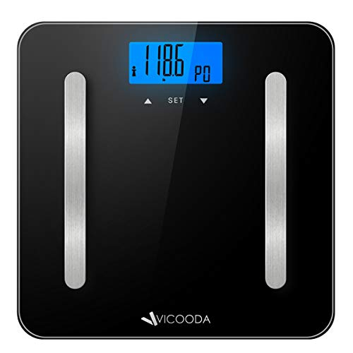 Digital Body Weight Scale, VICOODA Bathroom Scale with Backlit LCD Display, Measures Body Weight/Fat/Water/Muscle Mass/Bone Mass/BMI/Calorie,400 Pounds, 6mm Tempered Glass, Black (Black)