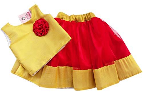 Stanwells Kids Baby Girl's Silk Readymade Lehenga Choli (AG009C_16_Red_1-1.5 Years)