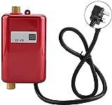 MAQRLT Calentador de Agua eléctrico, Pequeño 220V-240V 3000W Mini sin Tanque Calentador de Agua del Grifo, Sistema de Lavado Cuarto de baño Cocina Hogar,Rojo