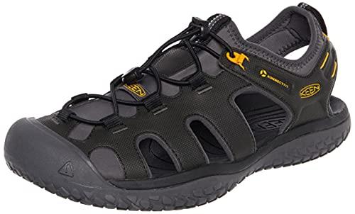 KEEN Men's SOLR High Performance Sport Closed Toe Water Sandals, Black/Gold, 11