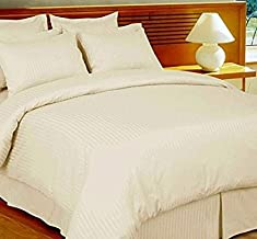 Linenwalas Summer Special 100 Anti-Pilling Cotton 310TC Satin Stripes King/Double Bedsheet with 2 Pillow Covers - Ivory