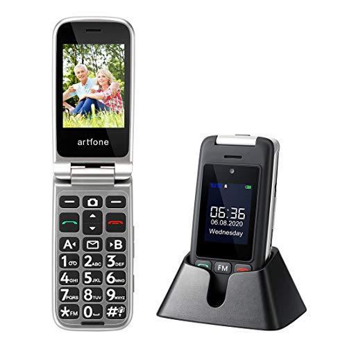 artfone Seniorenhandy Klapphandy ohne Vertrag | Mobiltelefon mit Notruftaste | Rentner Handy große Tasten | 2G GSM Großtastenhandy mit Ladestation Dual-Display Kamera Taschenlampe