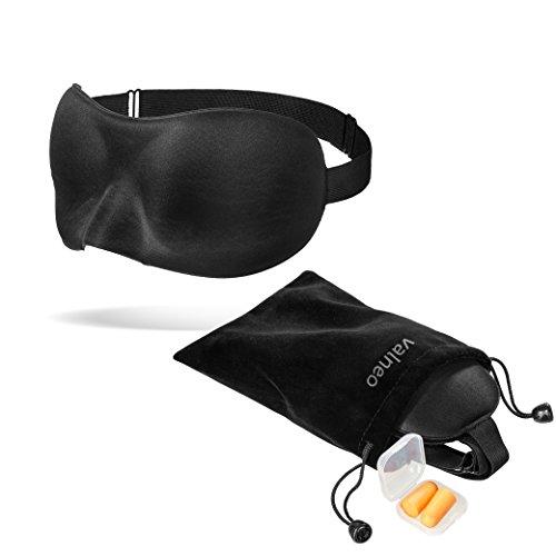 VALNEO Schlafmaske mit flexiblem Gummiband, Samttasche und Ohrstöpseln | für einen tiefen und erholsamen Schlaf | Schlafbrille, Nachtmaske