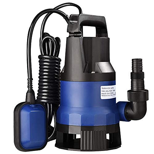 Yescom 1HP Submersible Water Pump 3434GPH 750W Clean/Dirty Water Pumps with Automatic Float Switch for Swimming Pool Garden Tub Pond Flood Drain
