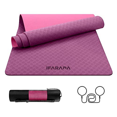 IFARADA - Esterilla de yoga antideslizante de 6 mm de grosor – Esterilla de fitness de TPE fácilmente reciclable – Incluye una bolsa de transporte ideal para viajes y una correa de transporte