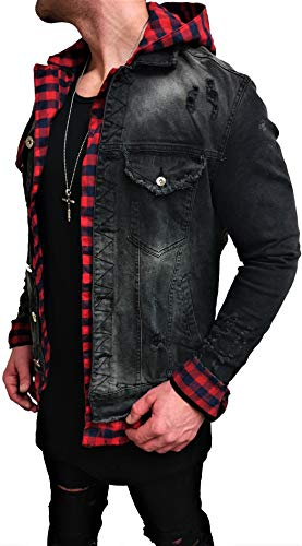 Kapuzen Jeansjacke Denim Jeans Jacke Kapuzenjacke Hoodie Herren Sommerjacke Sommer Grau Biker Motorrad Designer Blouson Sweat Men Leather Flieger Wende Piloten Jacket Slim Shirt Hose NEU M