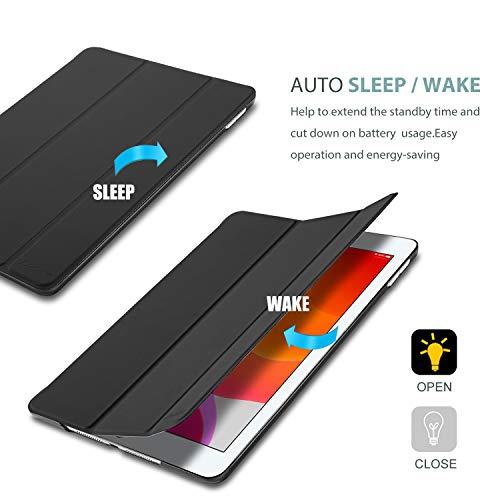 ProCase Hülle für iPad 10.2 Zoll 2020 8th Gen/2019 7th Gen Dreifach Falt Klapp Schutzhülle Case,Ultra Dünn Leicht Smart Cover mit Translucent Frosted Rück –Schwarz