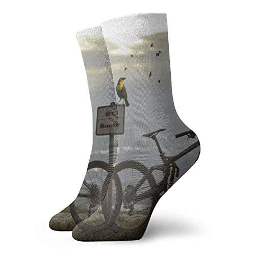 Two Black Mountain Bikes Adult Short Socks Cotton Funny Socks 30 cm Flat Knit Casual Athletic Daily Sports Socks