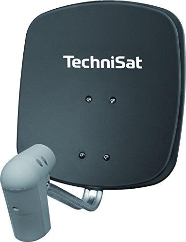 TechniSat SATMAN 45 - Satellitenschüssel für 2 Teilnehmer (45 cm Sat Spiegel mit Wandhalterung und UNYSAT-Twin-LNB im Wetterschutz-Gehäuse) grau