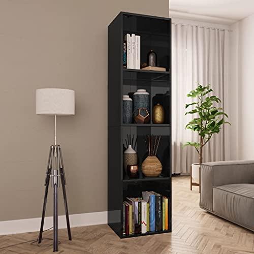 Susany Estantería Librería Convertible Estantería para Libros con 4 Compartimentos Estanteria Madera Mueble TV Salón Negro Brillante 36x30x143 cm