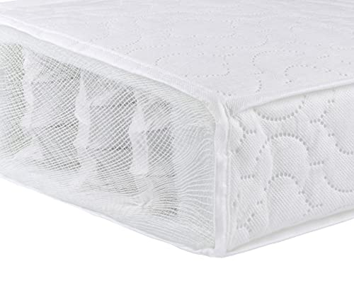 Babymore Pocket Sprung Cot Mattress 140 x 70 cm with Removable Cover | British Made Breathable, Water Resistant Cot Bed Mattress Made from Superior Foam | Individual Pocketed Springs