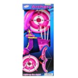 OKK TOYS Bow and Arrow Archery Set with Holder - Light UP - Hunting Toy for Girls, Pink Color