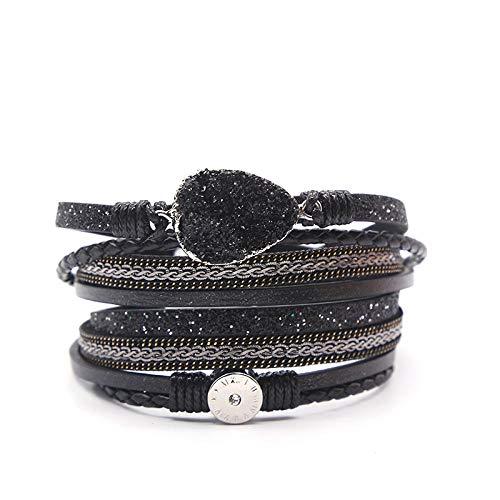 Leren damesarmband, multi-layer vintage leer zwart armband bergkristal geweven legering accessoire armband lederen armband vrouwelijk magneet sluiting armband gepersonaliseerde kleding accessoires
