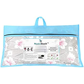 "NutriBuck Organic Buckwheat Pillow | Standard Size | 15"" x 25"" inch | Pillow for Neck Pain | Shoulder Pain | Back Pain | Other Sleeping Problem (Light Grey)"