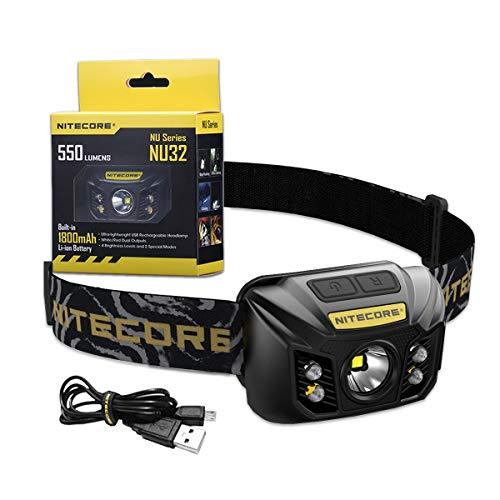 Nitecore NU32 - Linterna Frontal LED Recargable - 550 Lumenes 3 Tipos de Luz - Linterna Frontal Con Luz Roja - Batería Integrada 330H Resistente IP67