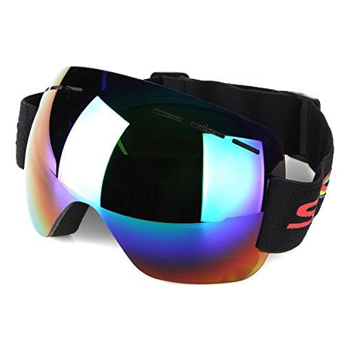 GOZAR Lunettes De Moto Anti-Brouillard UV Ski Snowboard Racing Lunettes De Soleil Miroir De Neige - Vert