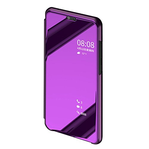 BCIT Huawei P20 Pro Funda - Modelo inteligente Fecha / Hora Ver Espejo Brillante tirón del caso duro Con para el Huawei P20 Pro - Púrpura oscuro