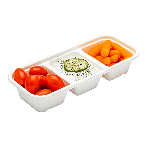 Pulp Tek 17 Ounce Biodegradable Food Containers, 100 Disposable Take Out Containers - Lids Sold Separately, 3 Compartments, Bagasse Compostable To Go Containers, Natural Sugarcane - Restaurantwa