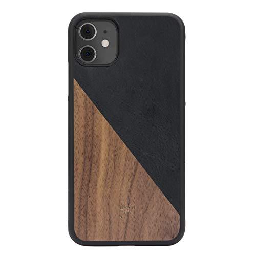Woodcessories - Hülle kompatibel mit iPhone 11 / Xr aus Echtholz - EcoSplit Case 2.0 (Walnuss/Schwarz)