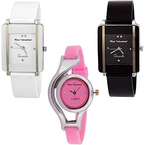 Maan International Multicolour Analogue Women's Watch -Combo of 3