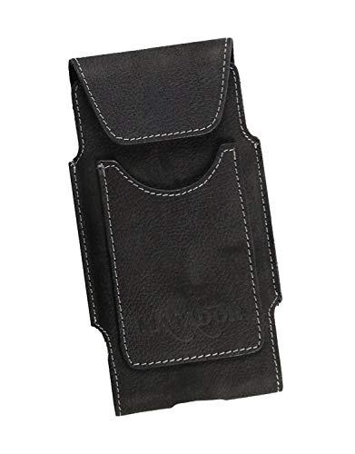 MATADOR Echt Ledertasche LG G8s / G8X ThinQ Handytasche Hülle Schutz Etui Vertikaltasche Magnetverschluss Gürtelschlaufe Kartenfach (Schwarz/Black)