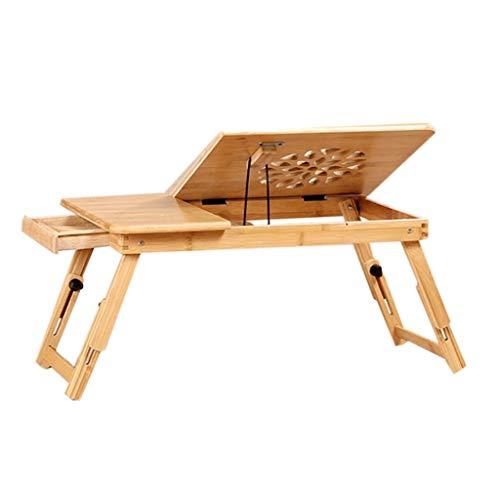 Stand Bureau Portable,Deakj Table De Lit En Bambou Facile Conception De Fleurs Ajustable for Les Résidences Étudiantes (Couleur : With drawer, Taille : Grand)