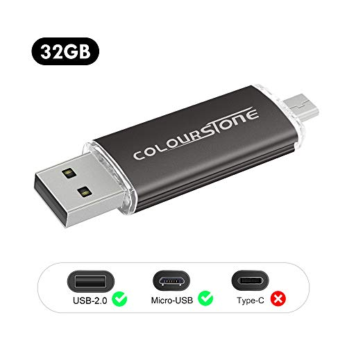 Clés USB,Colourstone High Speed Micro USB 2.0 32GB Flash Thumb Pen Drive Stick Mémoire pour Android Smartphones Tablettes PC Computers(Noir)