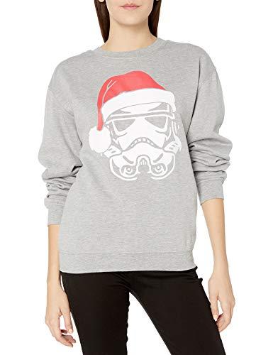 STAR WARS Women's Ugly Christmas Crew Sweatshirt, Stormtrooper/Light Heather Grey, Small