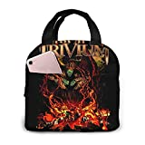 Bolsa del almuerzo Lunch Box Insulated Bag Trivium Black Portable insulated lunch Bags Stylish Lunch Tote Bag Reusable Waterproof Oil-proof Cooler Bag Simple for Men/Women/Kids