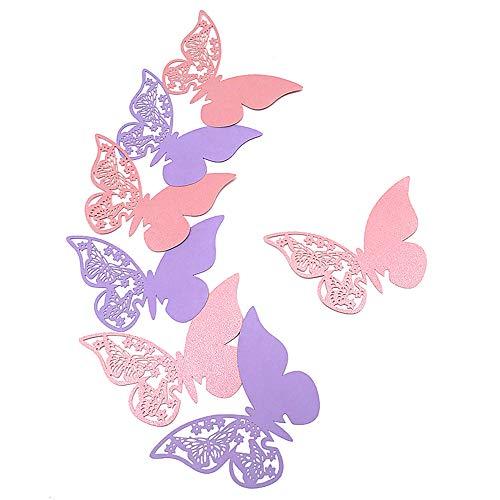 HaimoBurg 100 PCS Segnaposti Segnabicchiere Segnatavolo Perlato Forma di Farfalle Decorazioni per Feste Matrimonio (Lillà/Rosa)