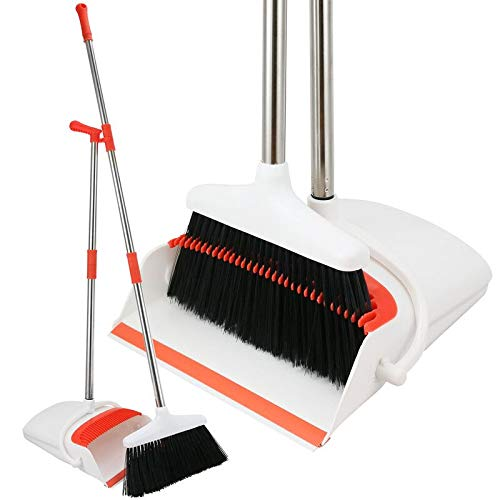 Broom And Dustpan Set - Strongest 30% Heavier Duty - Upright Standing Dust Pan With Extendable Broomstick For Easy Sweeping Easy Assembly Great Use For Home, Office, Kitchen, Lobby