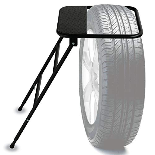 SUNCOO Adjustable Tire Step for Truck, SUV, RV, Semi, Heavy Duty 400 lb. Capacity,Portable Folding Wheel Steps with Non-Slip Powder-Coated Steel Surface Fits 9-13in. Tires