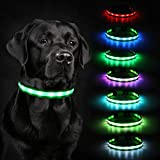 Led Dog Collar Lights, HAOPINSH 2020 Newest Led Dog Collar Rechargeable Led Lighted Up Dog Collar Night Safety Collar for Small Medium Large Dogs USB Charger 8 Changing (Large)