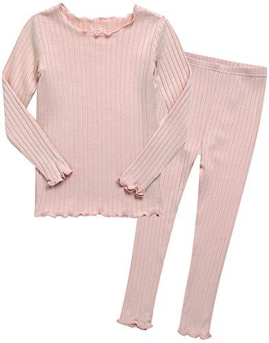 VAENAIT BABY 12M-12 Toddler Kids Unisex Girls & Boys Soft Comfy Solid Modal Tencel Shirring Sleepwear Pajamas 2pcs Set (JM / 12, A-2-Peach)