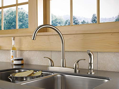 Peerless Tunbridge 2-Handle Kitchen Sink Faucet with Side Sprayer, Stainless P299578LF-SS