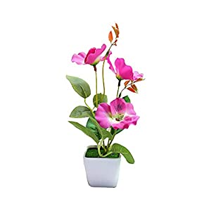 Artificial and Dried Flower Artificial Flower Plant Plastic Pot Bonsai Silk Flower Bonsai Design Garden Table Party Room Decoration – ( Color: Purple Pansy )