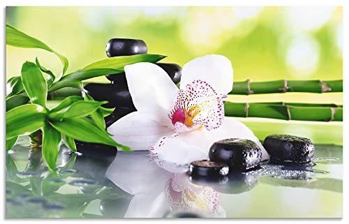 Artland Spritzschutz Küche aus Alu für Herd Spüle 50x80 cm Küchenrückwand mit Motiv Natur Zen Pflanze Spa Steine Bambus Asien Orchidee T9IQ