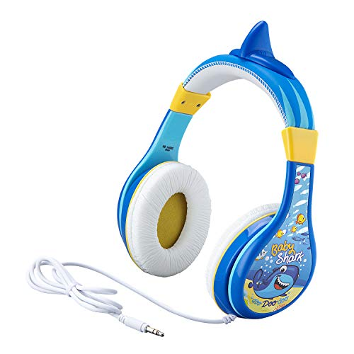 eKids Baby Shark Kids Headphones, Adjustable Headband, Stereo Sound, 3.5Mm Jack, Wired Headphones for Kids, Tangle-Free, Volume Control, Childrens Headphones Over Ear for School Home, Travel