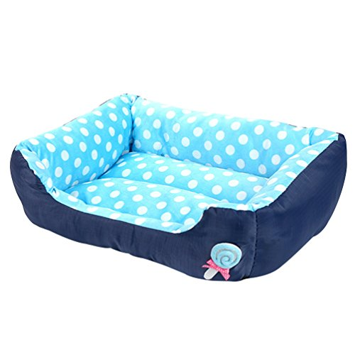 LvRao Waschbar Haustierbett für Hund, Katze & Haustier Rechteck Welpen Kissen Sofa Körbe Hundebett (Blau, L: 68 * 55 * 16CM)
