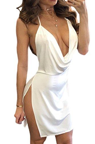 Frauen Schulterfreien Minikleid Clubwear Rückenfrei Schlitz - Party White L