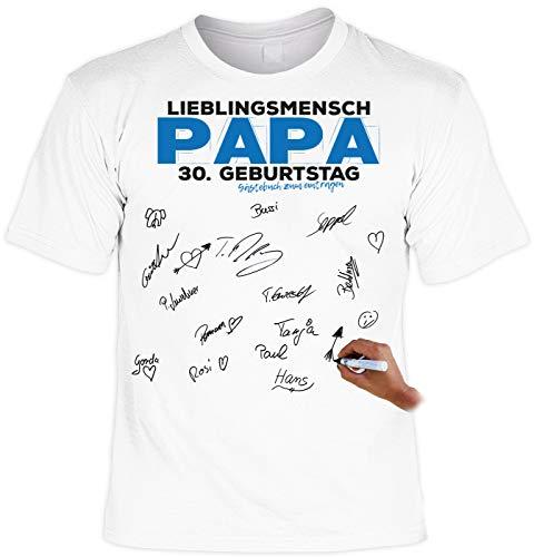 Shirt mit Textilstift: Lieblingsmensch Papa 30. Geburtstag Gästebuch zum eintragen