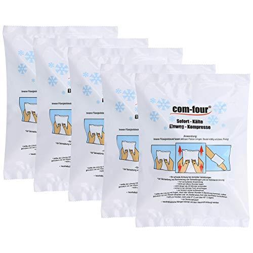 com-four® 5X Einweg Kälte-Sofort-Kompresse für Erste-Hilfe-Maßnahmen zur äußerlichen Anwendung, 21 x 15 cm (05 Stück - Set 2)