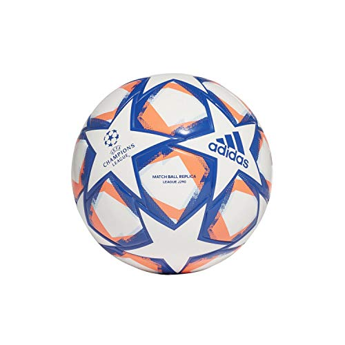 adidas Fin 20 LGE J290 Soccer Ball, Unisex-Youth, White/Team Royal Blue/Signal Coral/Sky Tint, 4
