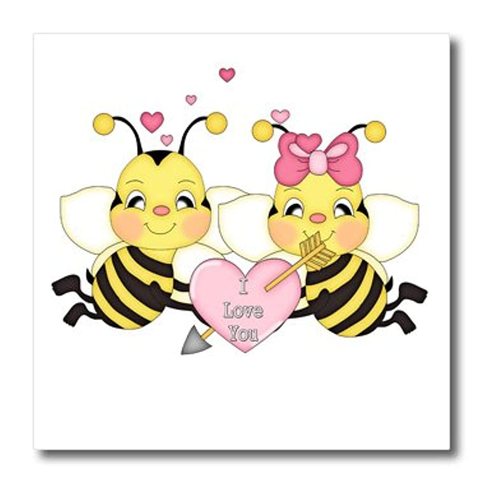 3dRose ht_102471_2 Cute I Love You Valentine Bumble Bee Couple Cartoon-Iron on Heat Transfer for White Material, 6 by 6-Inch