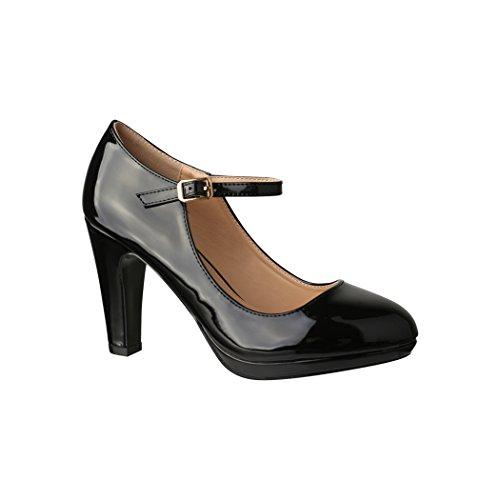 Elara Damen Pumps Riemchen High Heels Vintage Chunkyrayan 118-7 Black-38