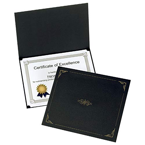 Oxford Certificate Holders, Black Diploma Holders, Letter Size, 25 Per Pack (299550)