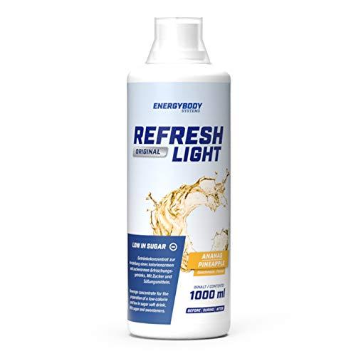 Energybody Refresh Light Fitness Getränkekonzentrat aspartamfrei zuckerarm kalorienarm mit Vitaminen, bekannt aus Fitness-Studios, Ananas Geschmack, 1 Liter Flasche, 166 Portionen
